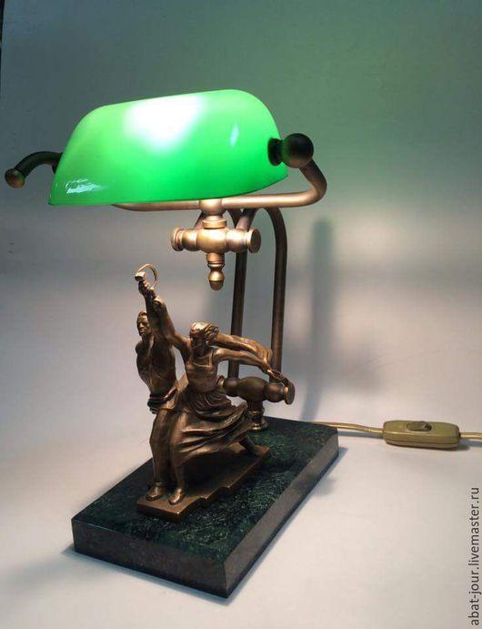 Освещение ручной работы. Ярмарка Мастеров - ручная работа. Купить настольная лампа. Handmade. Зеленый, настольная лампа, скульптура, бронза