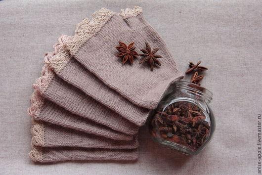 """Варежки, митенки, перчатки ручной работы. Ярмарка Мастеров - ручная работа. Купить """"Wool & Lace"""", митенки. Handmade. Коричневый"""