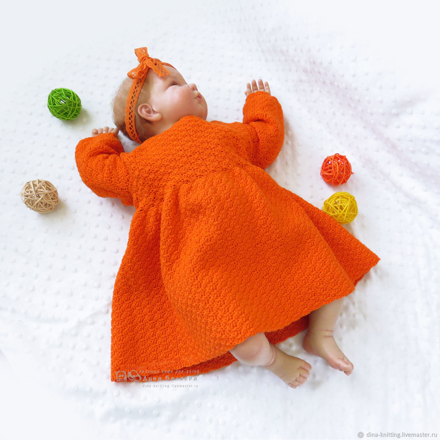 40a724141740a Clothes for Girls handmade. Livemaster - handmade. Buy Knitted baby dress  for girl orange ...