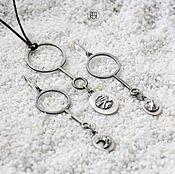 Украшения ручной работы. Ярмарка Мастеров - ручная работа Комплект украшений из серебра. Луна, минимализм, лаконичность. Handmade.