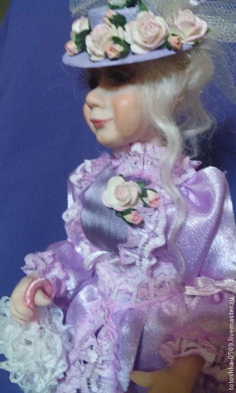 Портретные куклы ручной работы. Ярмарка Мастеров - ручная работа. Купить Дама с собачкой. Любаша. Handmade. Бледно-сиреневый