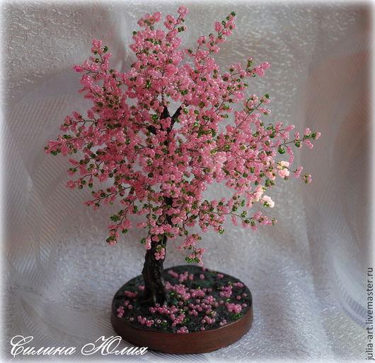 Деревья ручной работы. Ярмарка Мастеров - ручная работа. Купить Сакура. Handmade. Розовый, цветущая сакура, для спальни, бисер