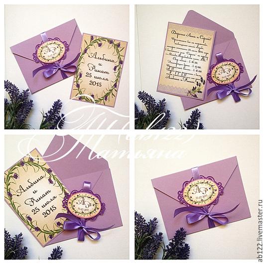 Свадебные аксессуары ручной работы. Ярмарка Мастеров - ручная работа. Купить Лавандовые приглашения - карточка в конверте. Handmade. Разноцветный