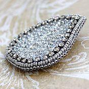 Украшения handmade. Livemaster - original item Embroidered Brooch with Swarovski Crystals. Silver leaf. Handmade.