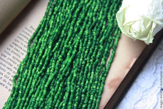 Для украшений ручной работы. Ярмарка Мастеров - ручная работа. Купить Винтажный cатиновый бисер - green satin. Handmade. Зеленый