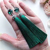 """Украшения ручной работы. Ярмарка Мастеров - ручная работа Серьги - кисти """"Emerald"""". Handmade."""
