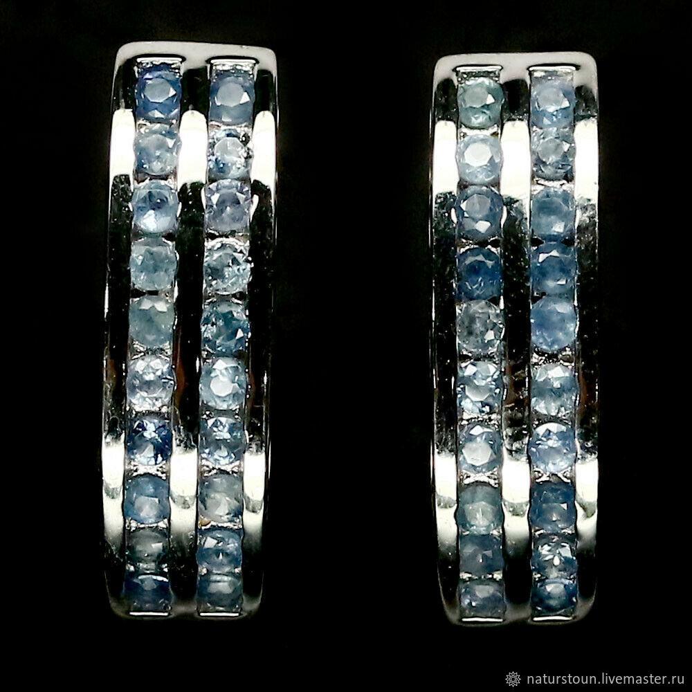 Серьги с синими сапфирами, Серьги-зажимы, Санкт-Петербург,  Фото №1