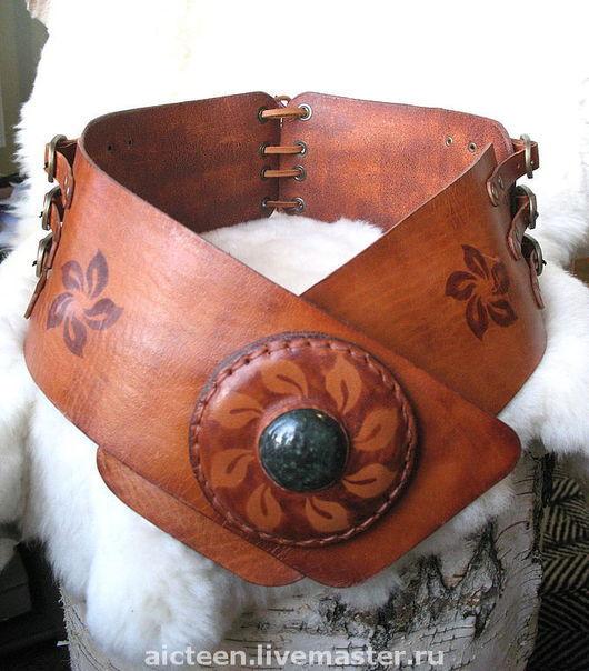 Пояса, ремни ручной работы. Ярмарка Мастеров - ручная работа. Купить Широкий женский пояс из натуральной кожи ручной работы №1. Handmade.