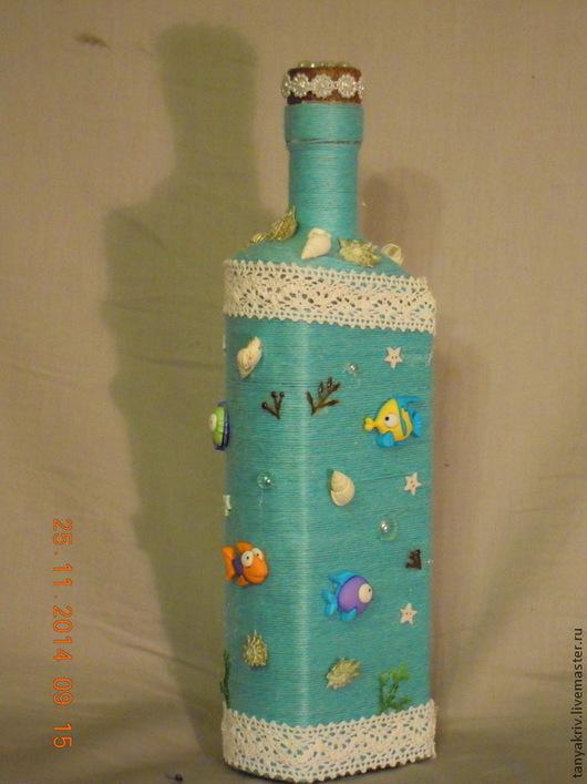 Декоративная посуда ручной работы. Ярмарка Мастеров - ручная работа. Купить Океан. Handmade. Голубой, бутылка декоративная, бутылка