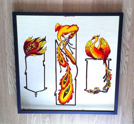 """Зеркала ручной работы. Ярмарка Мастеров - ручная работа. Купить Зеркало """"Жар-птица"""". Handmade. Витраж, жар птица, коричневый"""