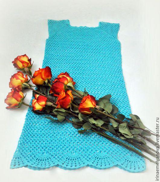 """Платья ручной работы. Ярмарка Мастеров - ручная работа. Купить Платье крючком """"Голубая даль"""". Handmade. Бирюзовый, голубой"""
