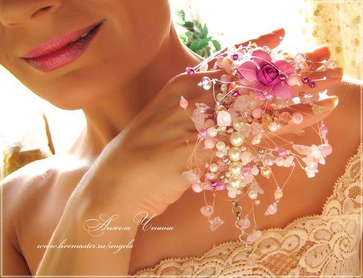 Воздушный свадебный браслет с розовым кварцем и цветком из полимерной глины FIMO Необычный свадебный браслет для невесты.  Воздушный розовый браслет