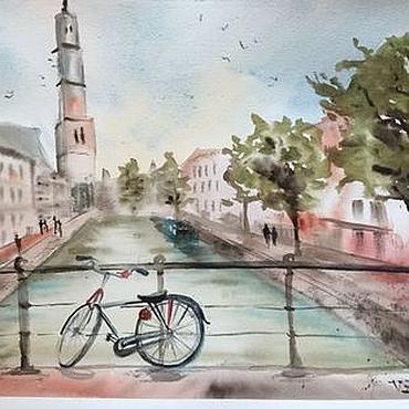 """Картины и панно ручной работы. Ярмарка Мастеров - ручная работа """"Улочки Амстердама"""", акварель. Handmade."""
