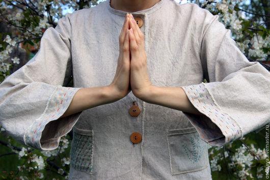 Пиджаки, жакеты ручной работы. Ярмарка Мастеров - ручная работа. Купить япона лес. Handmade. Сашико, лён