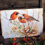 """Картины и панно ручной работы. Ярмарка Мастеров - ручная работа Панно настенное """" Рыжие птицы"""", для интерьера. Handmade."""
