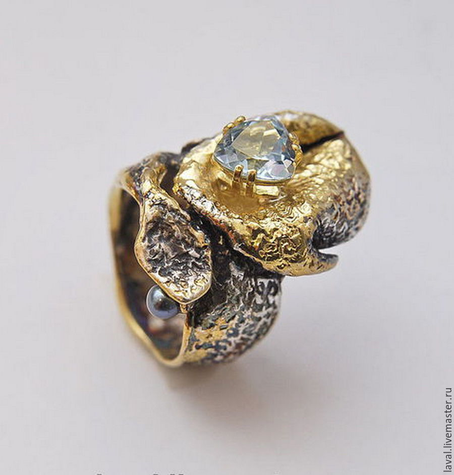 'Blue Lagoon' - silver ring with Topaz and gold, Rings, Kurgan,  Фото №1