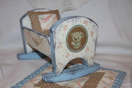 """Детская ручной работы. Ярмарка Мастеров - ручная работа. Купить Кроватка для куклы """"Мишкины сны"""". Handmade. Голубой, для мишки"""