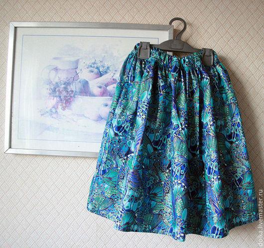 """Юбки ручной работы. Ярмарка Мастеров - ручная работа. Купить Юбка """"Синие бабочки"""". Handmade. Синий, хлопок США, бабочки"""