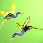 Подарки к праздникам ручной работы. Ярмарка Мастеров - ручная работа Интерьерное стеклянное украшение -  птица Цапля. Handmade.