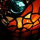 фрагмент.  Светильник-ночник Рыжий котейка  витраж в технике тиффани цветное стекло и стеклянные капли