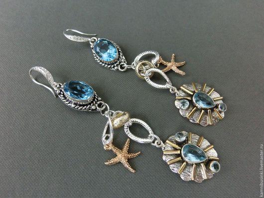 Серьги ручной работы. Ярмарка Мастеров - ручная работа. Купить Серьги голубой топаз серебро 925 позолота морской стиль. Handmade.