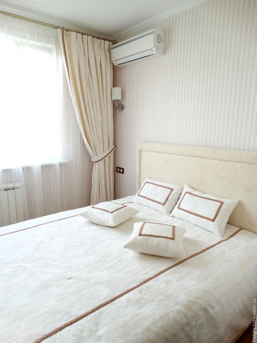 Шторы в спальню. Покрывало на кровать. Текстиль для спальни. Подушки декоративные. Романтика. Прованс. Гармония. Индивидуальный пошив.
