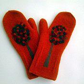 Аксессуары handmade. Livemaster - original item Mittens knitted felted orange tree. Handmade.