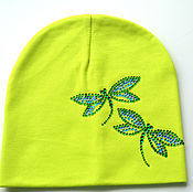 Работы для детей, handmade. Livemaster - original item Children`s knitted hat with rhinestones. Handmade.