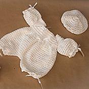 Работы для детей, ручной работы. Ярмарка Мастеров - ручная работа Вязаный комплект для новорожденного. Handmade.