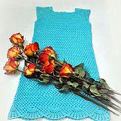 """Одежда ручной работы. Ярмарка Мастеров - ручная работа Платье крючком """"Голубая даль"""". Handmade."""