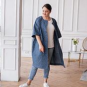 handmade. Livemaster - original item Denim raincoat plus size blue, T-shirt white. Handmade.