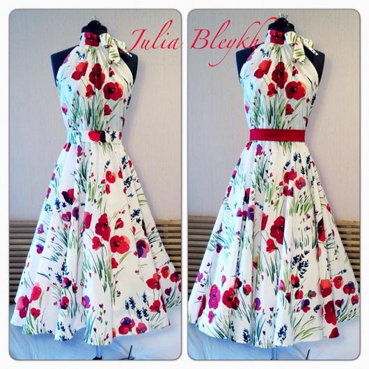 """Платья ручной работы. Ярмарка Мастеров - ручная работа. Купить Платье """"Маки"""" с американской проймой. Handmade. Маки, платье летнее"""