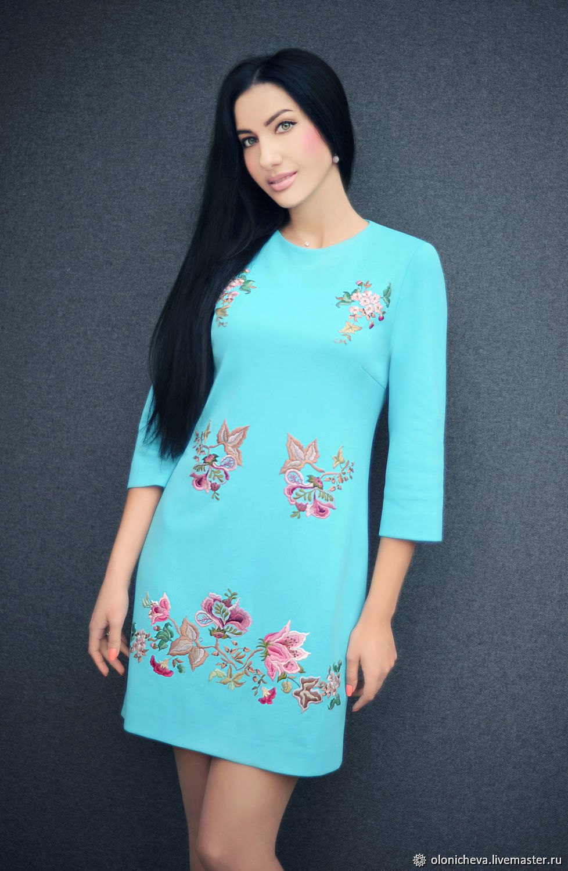 Dress 'Light turquoise' dress with embroidery, elegant dress, Dresses, Vinnitsa,  Фото №1