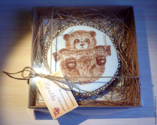 Пряник `Панда`роспись какао.