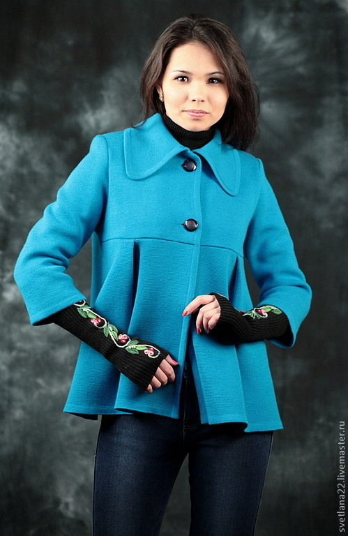 """Верхняя одежда ручной работы. Ярмарка Мастеров - ручная работа. Купить Вязаное пальто""""Долгожданная весна"""". Handmade. Бирюзовый, пальто на подкладе"""