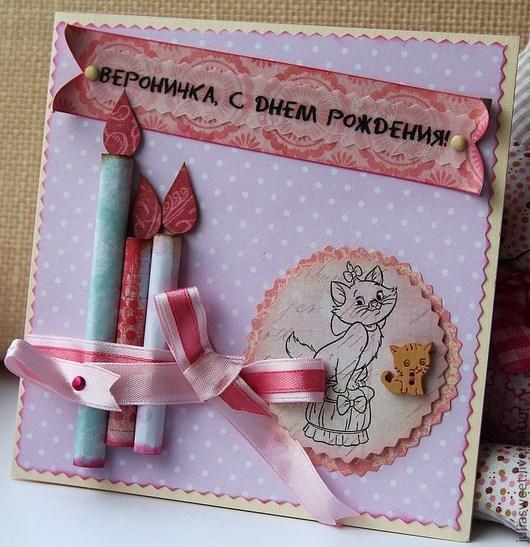 """Детские открытки ручной работы. Ярмарка Мастеров - ручная работа. Купить Открытка """"Именинные свечки"""" (для девочки). Handmade. для девочек"""