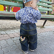 Работы для детей, handmade. Livemaster - original item Denim breeches for a boy. Handmade.