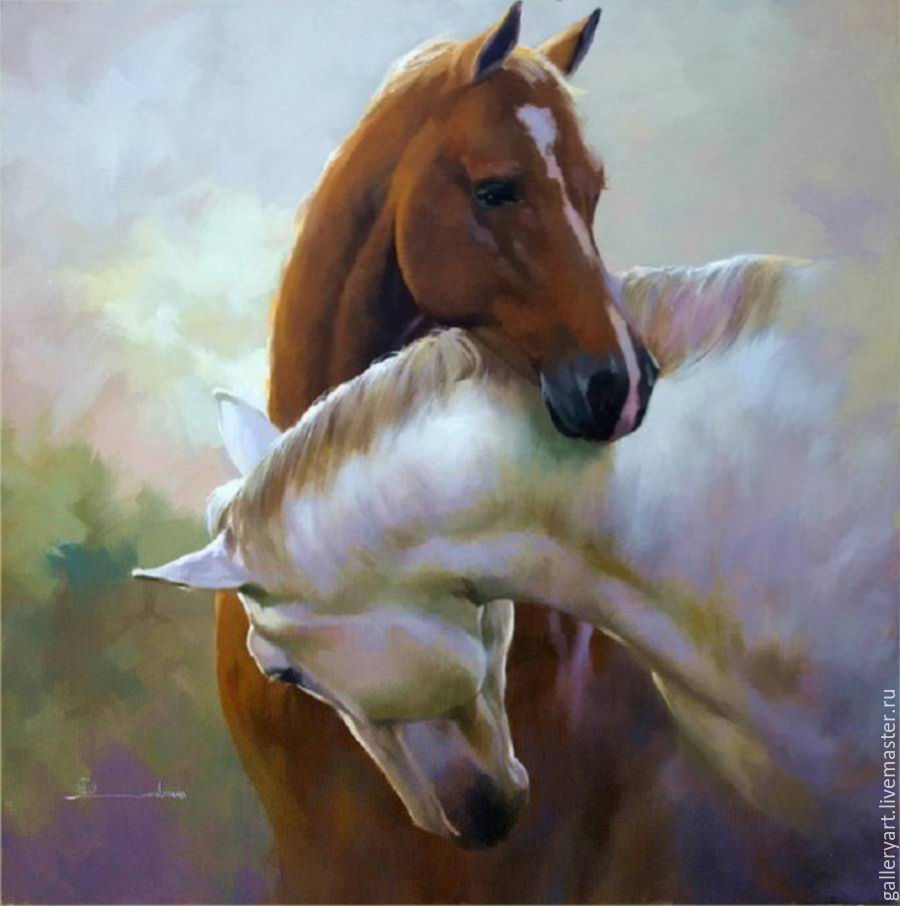 The painting 'a pair of horses', Pictures, St. Petersburg, Фото №1