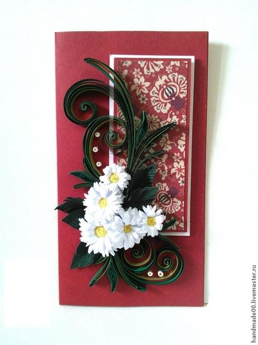 """Открытки для женщин, ручной работы. Ярмарка Мастеров - ручная работа. Купить """"Ромашки"""". Handmade. Ярко-красный, открытка на все случаи"""