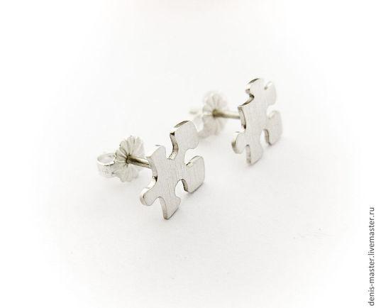 серьги-гвоздики из серебра, серьги-гвоздики серебряные, серьги-гвоздики серебро 925, пуссеты серебряные, пуссеты из серебра, пуссеты серебро 925, серьги гвоздики пазлы, серьги пазлы серебро