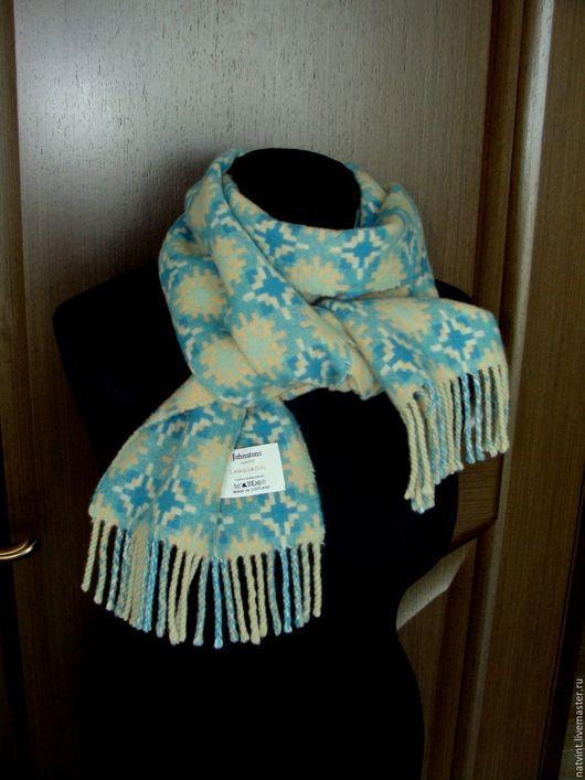 Винтажная одежда и аксессуары. Ярмарка Мастеров - ручная работа. Купить Johnstons, мятно-бирюзовый шарф из овечьей шерсти, люкс, Шотландия. Handmade.