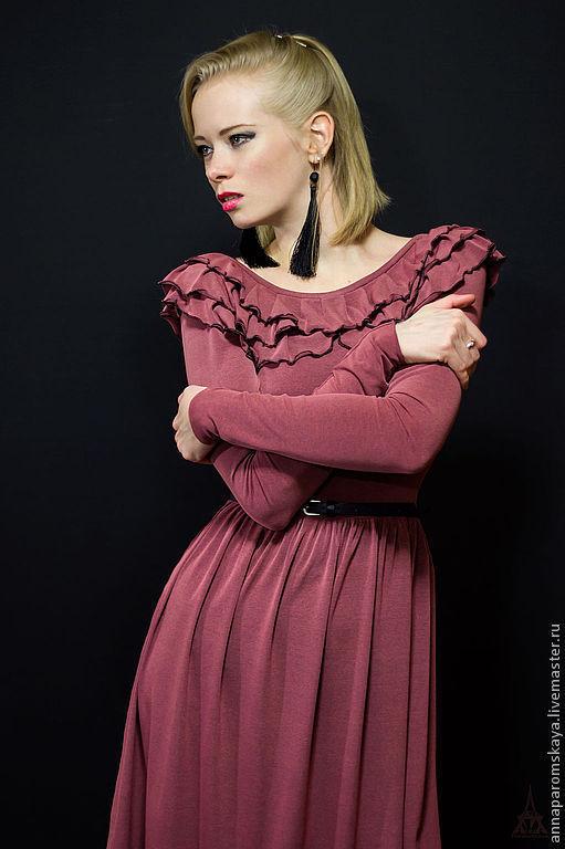 Платья ручной работы. Ярмарка Мастеров - ручная работа. Купить Платье. Handmade. Розовый, романтичное платье, платье из трикотажа