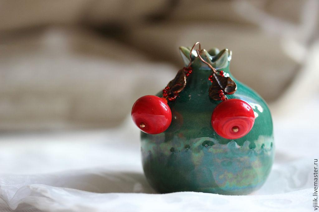 Earrings apples. Earrings bright. long earrings. handmade earrings. fair masters.
