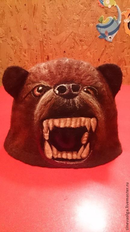 """Банные принадлежности ручной работы. Ярмарка Мастеров - ручная работа. Купить Шапка для бани """"Пещерный медведь"""". Handmade. Коричневый, животное"""