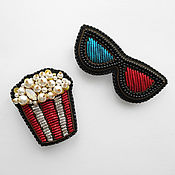 Украшения handmade. Livemaster - original item Set of brooches Popcorn and 3D glasses, set of brooches for moviegoers 2. Handmade.