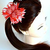 Резинка для волос ручной работы. Ярмарка Мастеров - ручная работа Резинка для волос: Бантики Красная роза. Handmade.