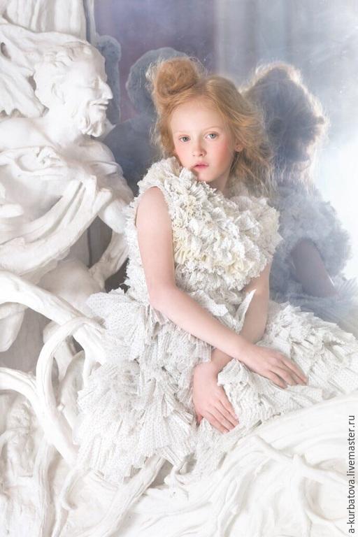 Одежда для девочек, ручной работы. Ярмарка Мастеров - ручная работа. Купить Платье БЕЛЫЙ ЛЮПИН. Handmade. Белый, Платье нарядное