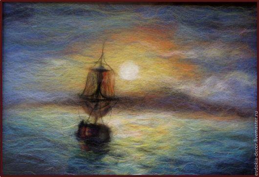 Пейзаж ручной работы. Ярмарка Мастеров - ручная работа. Купить Море. картина из шерсти. Handmade. Подарок, пейзаж, морской пейзаж