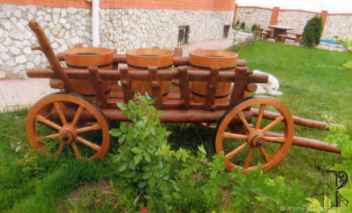 The cart garden decorative big, Flowerpots are garden, Ryazan,  Фото №1