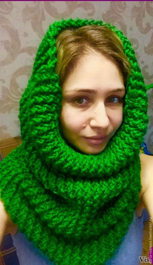 Шарфы и шарфики ручной работы. Ярмарка Мастеров - ручная работа. Купить Шарф-снуд (труба). Handmade. Зеленый, юбка вязаная